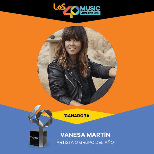 Vanesa Martin ganadora de Los 40 Music Awards