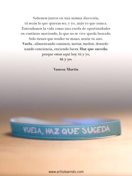 """Pulsera tela """"Vuela, haz que suceda"""" Vanesa Martín"""